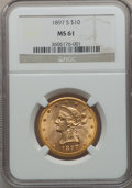Liberty Eagles: , 1897-S $10 MS61 NGC. NGC Census: (61/32). PCGS Population (28/47).Mintage: 234,750. Numismedia Wsl. Price for problem free...