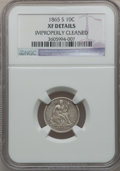 Seated Dimes: , 1865-S 10C -- Improperly Cleaned -- NGC Details. XF. NGC Census:(3/11). PCGS Population (9/11). Mintage: 175,000. Numismed...