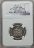 Seated Quarters: , 1879 25C -- Improperly Cleaned -- NGC Details. AU. NGC Census:(3/188). PCGS Population (4/208). Mintage: 13,600. Numismedi...