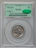Buffalo Nickels, 1913-S 5C Type One MS66 PCGS. CAC....