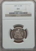 Seated Quarters: , 1891-O 25C Good 6 NGC. NGC Census: (1/29). PCGS Population (3/74).Mintage: 68,000. Numismedia Wsl. Price for problem free ...