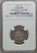 Seated Quarters: , 1890 25C -- Improperly Cleaned -- NGC Details. VF. NGC Census:(0/173). PCGS Population (2/195). Mintage: 80,000. Numismedi...