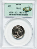 Proof Buffalo Nickels, 1937 5C PR65 PCGS. CAC Gold Label....