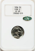Proof Buffalo Nickels, 1936 5C Type Two--Brilliant Finish PR65 NGC. CAC Gold Label....