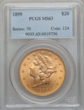 Liberty Double Eagles: , 1899 $20 MS63 PCGS. PCGS Population (2167/451). NGC Census:(5414/1573). Mintage: 1,669,384. Numismedia Wsl. Price for prob...