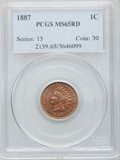 Indian Cents, 1887 1C MS65 Red PCGS....