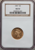 Three Dollar Gold Pieces: , 1857 $3 AU53 NGC. NGC Census: (77/401). PCGS Population (55/156).Mintage: 20,891. Numismedia Wsl. Price for problem free N...