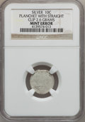 Errors, Undated 10C Silver Dime -- Blank Planchet with Straight Clip --NGC. 2.6 grams....