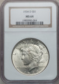 Peace Dollars: , 1934-D $1 MS64 NGC. NGC Census: (748/277). PCGS Population(1235/468). Mintage: 1,569,500. Numismedia Wsl. Price for proble...