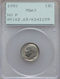 Roosevelt Dimes: , 1982 10C No P MS63 PCGS. PCGS Population (143/1756). NGC Census: (32/269). Numismedia Wsl. Price for problem free NGC/PCGS...