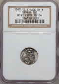 Errors, 1999 1C Lincoln Cent -- Struck on a 1999-P Dime Planchet -- MS64NGC....