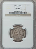 Seated Quarters: , 1861-S 25C VG10 NGC. NGC Census: (1/20). PCGS Population (4/38).Mintage: 96,000. Numismedia Wsl. Price for problem free NG...