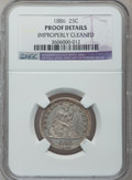 Proof Seated Quarters: , 1886 25C -- Improperly Cleaned -- NGC Details. Proof. NGC Census:(3/210). PCGS Population (1/246). Mintage: 886. Numismedi...