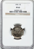 Proof Liberty Nickels: , 1905 5C PR63 NGC. NGC Census: (57/345). PCGS Population (109/343).Mintage: 2,152. Numismedia Wsl. Price for problem free N...
