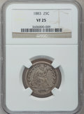 Seated Quarters: , 1883 25C VF25 NGC. NGC Census: (1/74). PCGS Population (1/97).Mintage: 14,400. Numismedia Wsl. Price for problem free NGC/...