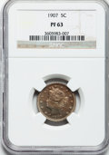 Proof Liberty Nickels: , 1907 5C PR63 NGC. NGC Census: (45/261). PCGS Population (96/313).Mintage: 1,475. Numismedia Wsl. Price for problem free NG...