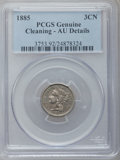 Three Cent Nickels, 1885 3CN -- Cleaned -- PCGS Genuine. AU Details. NGC Census:(0/24). PCGS Population (3/53). Mintage: 1,000. Numismedia Wsl...