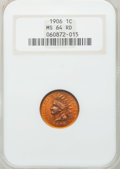 Indian Cents: , 1906 1C MS64 Red NGC. NGC Census: (360/328). PCGS Population(331/190). Mintage: 96,022,256. Numismedia Wsl. Price for prob...
