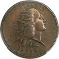 Large Cents, 1793 1C Wreath Cent, Vine and Bars AU53 PCGS. S-11a, B-16a, HighR.4....
