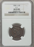 Half Cents: , 1834 1/2 C AU55 NGC. C-1. NGC Census: (40/337). PCGS Population(62/246). Mintage: 141,000. Numismedia Wsl. Price for prob...