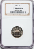 Proof Shield Nickels: , 1881 5C PR66 Cameo NGC. NGC Census: (55/28). PCGS Population(58/12). ...
