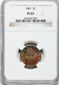 Proof Liberty Nickels: , 1887 5C PR63 NGC. NGC Census: (66/431). PCGS Population (116/506).Mintage: 2,960. Numismedia Wsl. Price for problem free N...