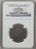 Large Cents, 1793 1C Wreath Cent, Vine and Bars -- Reverse Scratched -- NGCDetails. AG. S-8. NGC Census: (0/178). PCGS Population (30/...