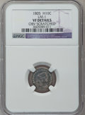 Early Half Dimes, 1805 H10C -- Obverse Scratched -- NGC Details. VF. LM-1. NGCCensus: (0/19). PCGS Population (4/32). Mintage: 15,600. Numi...