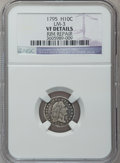 Early Half Dimes: , 1795 H10C -- Rim Repair -- NGC Details. VF. LM-3. NGC Census:(8/316). PCGS Population (29/411). Mintage: 78,600. Numismed...