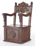 Furniture , A SPANISH RENAISSANCE-STYLE CHOIR CHAIR . 19th century. 39-3/4 x 21 x 22-1/4 inches (101.0 x 53.3 x 56.5 cm). The Elton M....