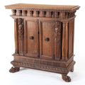 Furniture , AN ITALIAN RENAISSANCE-STYLE WALNUT CABINET . 17th century. 37-3/4 inches x 37-1/4 inches x 15-1/4 inches (95.9 x 94.6 x 38....