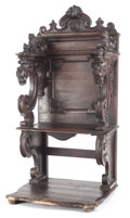 Furniture , A SPANISH RENAISSANCE-STYLE WALNUT CHOIR STALL . 17th century. 59-1/4 inches x 32 inches x 25-1/2 inches (150.5 x 81.3 x 64....