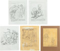 Original Comic Art:Miscellaneous, Hank Ketcham Dennis the Menace Preliminary Sketches OriginalArt Group (undated).... (Total: 5 Original Art)