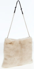 Luxury Accessories:Bags, Prada Cream Mink Fur Bag with Chain Strap. ...