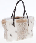 Luxury Accessories:Bags, Fendi White and Brown Rabbit Fur Tote Bag. ...