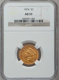 Three Dollar Gold Pieces: , 1874 $3 AU53 NGC. NGC Census: (169/2141). PCGS Population(195/1516). Mintage: 41,800. Numismedia Wsl. Price for problemfr...