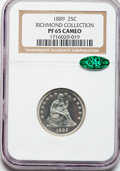 Proof Seated Quarters, 1889 25C PR65 Cameo NGC. CAC....