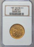 Indian Eagles: , 1907 $10 No Periods MS60 NGC. NGC Census: (138/4912). PCGSPopulation (156/4272). Mintage: 239,400. Numismedia Wsl. Price f...
