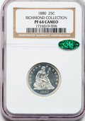 Proof Seated Quarters, 1880 25C PR64 Cameo NGC. CAC....