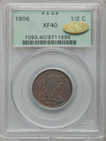 1806 1/2 C Small 6, No Stems XF40 PCGS. Gold CAC. PCGS Population (74/279). NGC Census: (38/723). Mintage: 356,000. Numi...