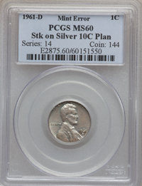 1961-D 1C Lincoln Cent -- Struck on a Silver Dime Planchet