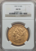 Liberty Double Eagles: , 1907-D $20 AU55 NGC. NGC Census: (8/2078). PCGS Population(32/2300). Mintage: 842,250. Numismedia Wsl. Price for problem f...
