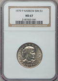 Susan B. Anthony Dollars, 1979-P SBA$ Narrow Rim MS67 NGC. CAC. NGC Census: (148/4). PCGSPopulation (83/1). Mintage: 36...