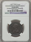 Colonials, 1783 1C Washington & Independence Cent, Large Military Bust --Environmental Damage -- NGC Details. VF. NGC Census: (7/73)...
