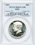 SMS Kennedy Half Dollars: , 1967 50C SMS MS67 Cameo PCGS. PCGS Population (461/33). NGC Census:(735/122). Numismedia Wsl. Price for problem free NGC/...