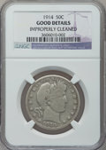 Barber Half Dollars: , 1914 50C -- Improperly Cleaned -- NGC Details. Good. NGC Census:(44/296). PCGS Population (61/893). Mintage: 124,300. Numi...