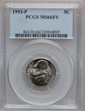 Jefferson Nickels: , 1993-P 5C MS66 Full Steps PCGS. PCGS Population (81/2). NGC Census:(2/1). Numismedia Wsl. Price for problem free NGC/PCGS...