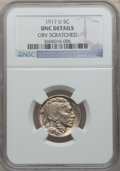 Buffalo Nickels: , 1917-D 5C -- Obv Scratched -- NGC Details. UNC. NGC Census:(2/506). PCGS Population (6/741). Mintage: 9,910,000. Numismedi...
