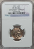 Buffalo Nickels: , 1927-S 5C -- Improperly Cleaned -- NGC Details. AU. NGC Census:(5/442). PCGS Population (20/671). Mintage: 3,430,000. Numi...