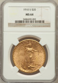Saint-Gaudens Double Eagles: , 1910-S $20 MS64 NGC. NGC Census: (545/75). PCGS Population(1054/190). Mintage: 2,128,250. Numismedia Wsl. Price for proble...